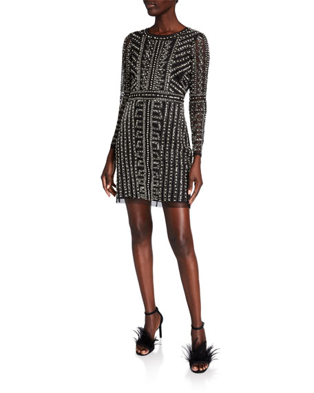 Image 1 of 2: Geometric Beaded Long-Sleeve Mini Cocktail Dress