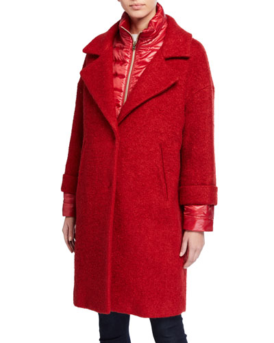 Quilted-Underlay Wool Coat