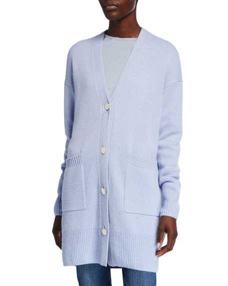 Image 2 of 3: St. John Collection Button-Front Drop Shoulder Cashmere Cardigan