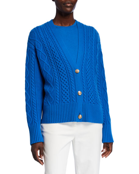 Image 2 of 3: St. John Collection Galway Cable Knit V-Neck Drop Shoulder Cardigan