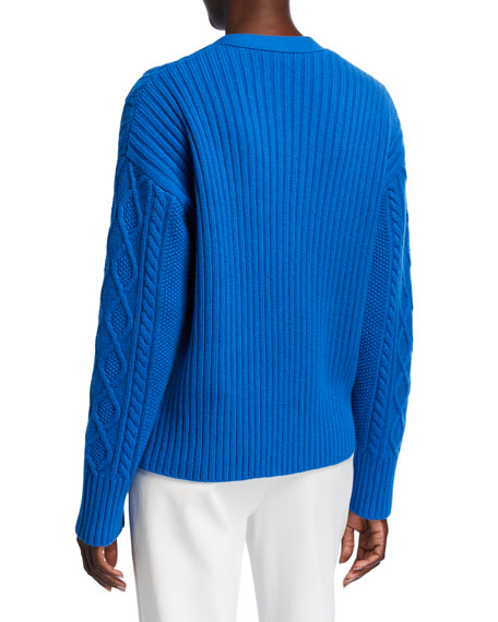 Image 3 of 3: St. John Collection Galway Cable Knit V-Neck Drop Shoulder Cardigan