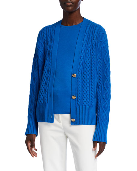 Image 1 of 3: St. John Collection Galway Cable Knit V-Neck Drop Shoulder Cardigan