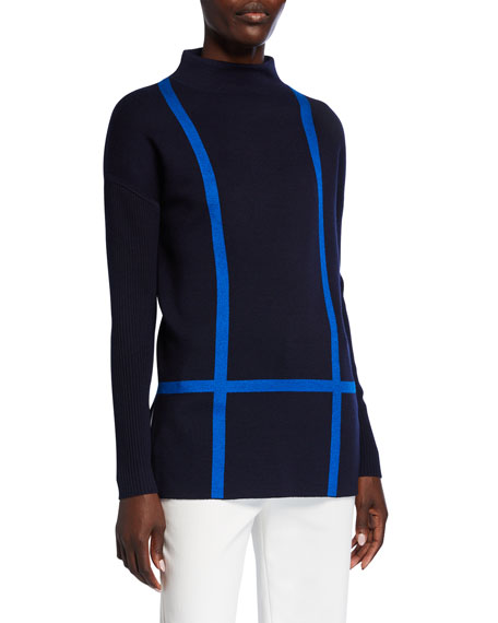 St. John Collection Windowpane Double Knit Funnel-Neck Top w/ Rib Sleeves