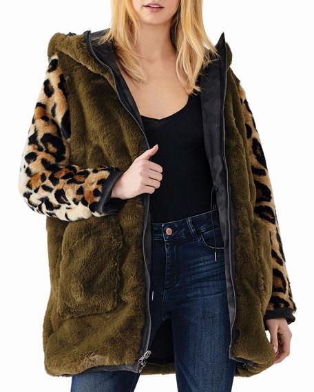 DL1961 Premium Denim Phoebe Hooded Animal-Print Parka Jacket