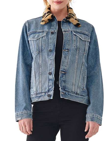 DL1961 Premium Denim Clyde Classic Trucker Jacket with Faux Fur Trim