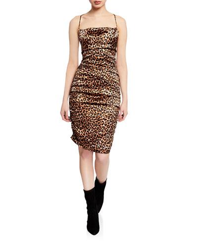 Alessia Leopard Cowl-Neck Sleeveless Dress