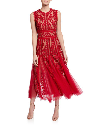Saba Leaf Embroidered Sleeveless Midi Dress w/ Godet Detail