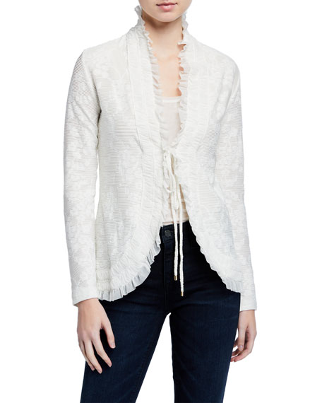 Image 2 of 3: Fuzzi Tie-Front Ruffle Edge Lace Cardigan