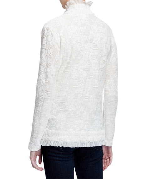 Image 3 of 3: Fuzzi Tie-Front Ruffle Edge Lace Cardigan