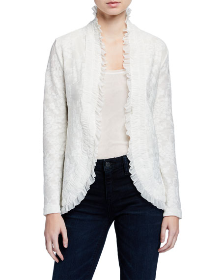 Image 1 of 3: Fuzzi Tie-Front Ruffle Edge Lace Cardigan