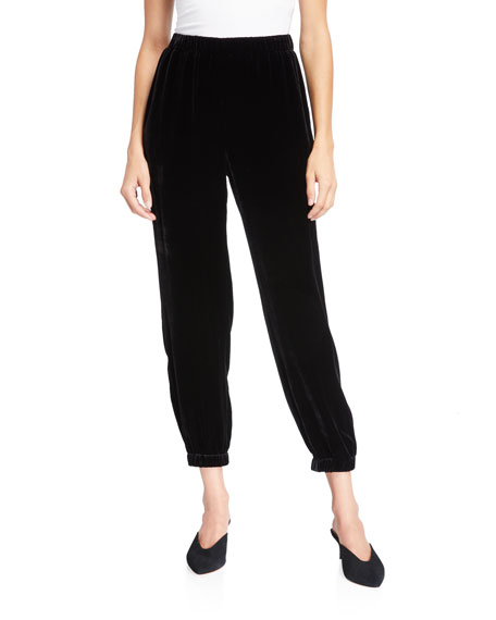 Eileen Fisher Pants VELVET PULL-ON ANKLE PANTS W/ ELASTIC CUFFS