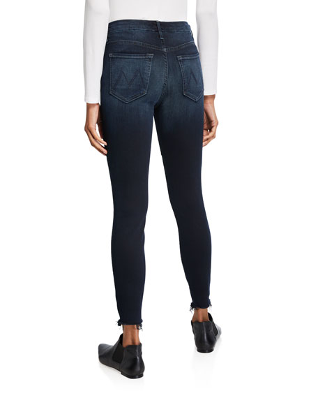 Image 2 of 3: MOTHER Looker High-Waist Frayed Ankle Skinny Jeans