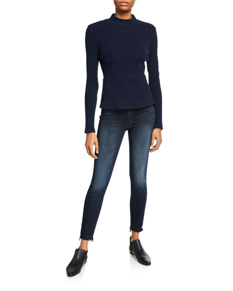 Image 3 of 3: MOTHER Looker High-Waist Frayed Ankle Skinny Jeans