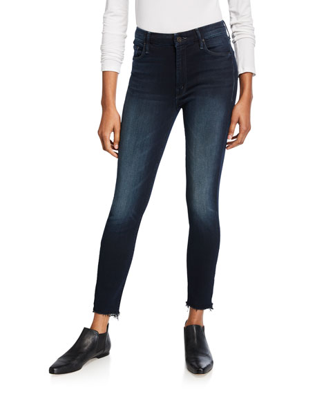 Image 1 of 3: MOTHER Looker High-Waist Frayed Ankle Skinny Jeans