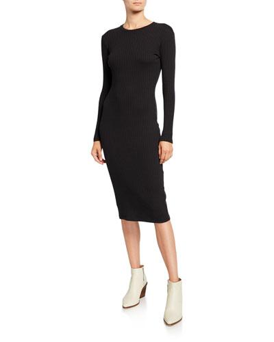 90s Long-Sleeve Ribbed Dress