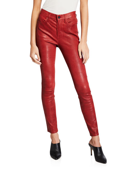 FRAME Le High Skinny Crop Leather Pants