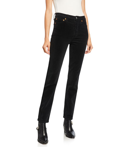 Double Needle High-Rise Straight-Leg Jeans