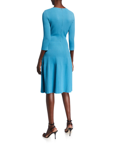 Image 2 of 2: St. John Collection Engineered Rib Knit Bateau Neck Dress