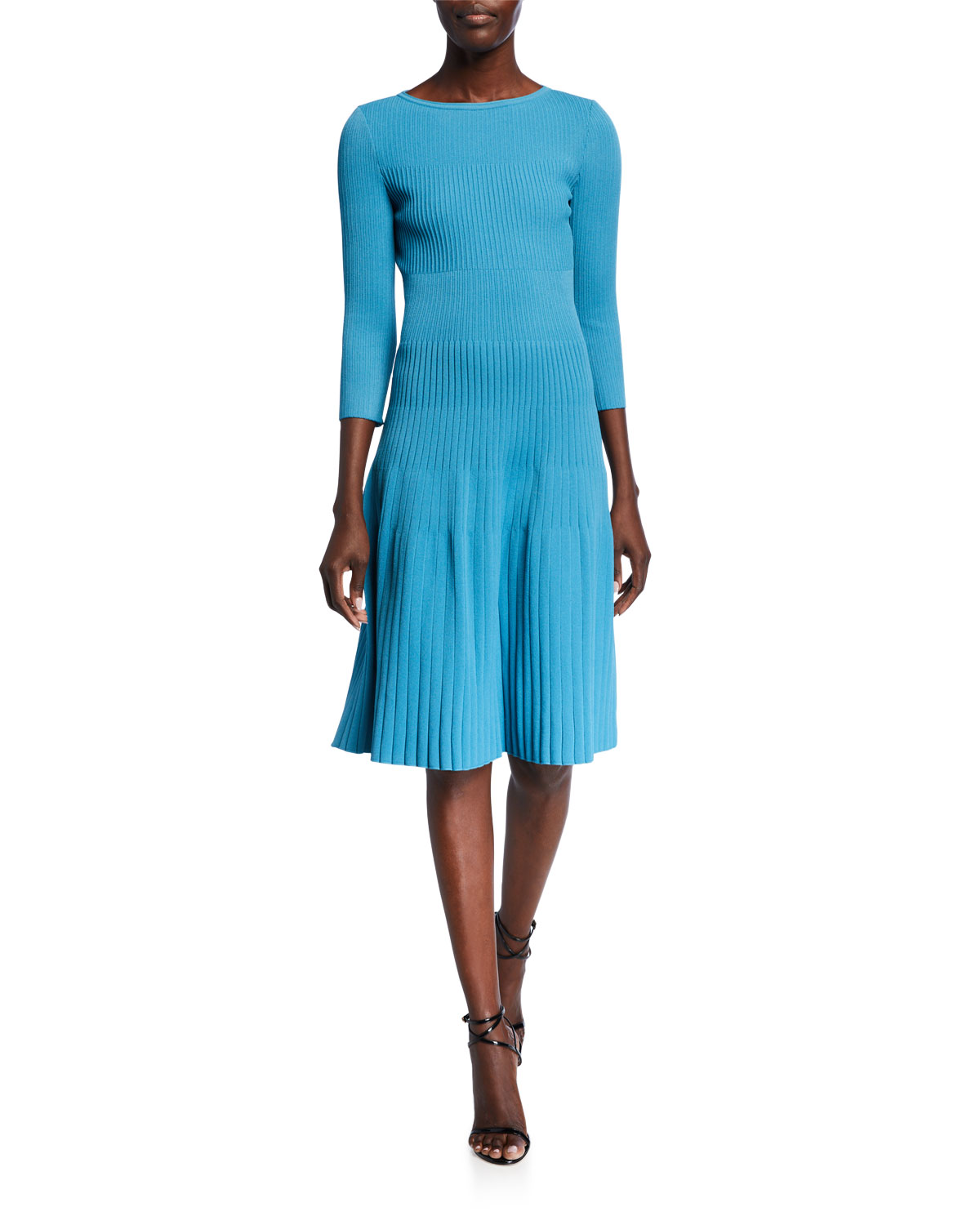 St. John Collection Engineered Rib Knit Bateau Neck Dress
