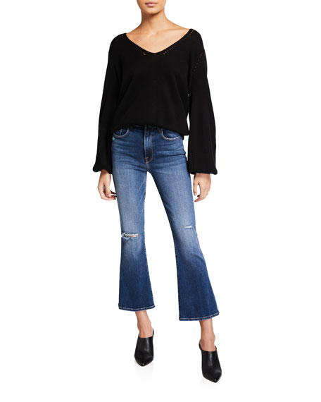 FRAME Le Cropped Mini Boot-Cut Blocked Pants with Frayed Waistband