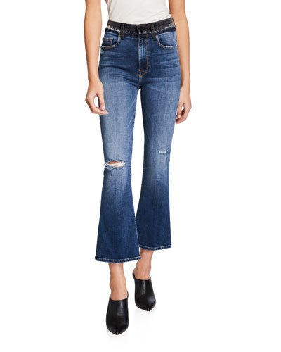 Le Cropped Mini Boot-Cut Blocked Pants with Frayed Waistband
