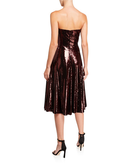 Image 2 of 2: Dress The Population Ruby Sequin Bustier Midi Cocktail Dress