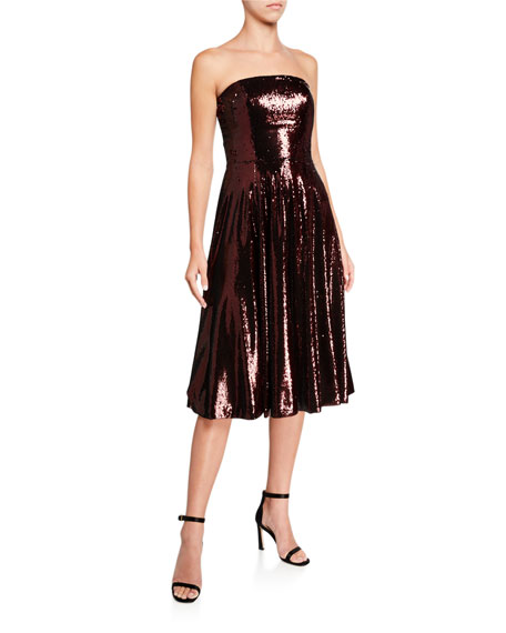 Image 1 of 2: Dress The Population Ruby Sequin Bustier Midi Cocktail Dress