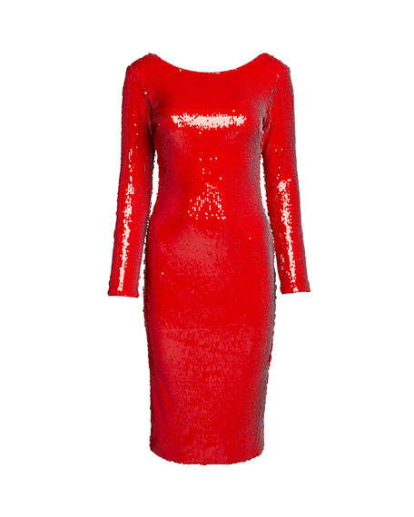 Image 3 of 3: Dress The Population Emery Sequin Long-Sleeve Sheath Dress