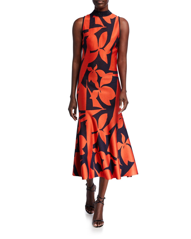 St. John Collection Patio Floral Jacquard Knit Dress