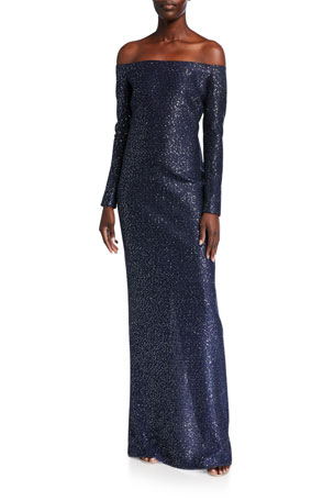 St. John Collection Glimmering Sequined Knit Off-the-Shoulder Gown