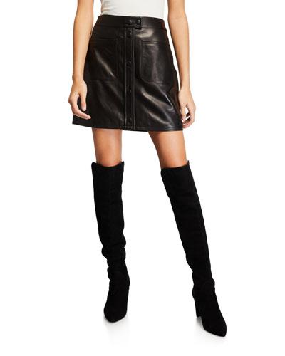Leather Patch-Pocket Mini Skirt