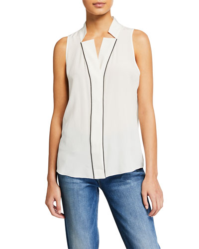 Contrast-Piped Silk Notched-Collar Blouse