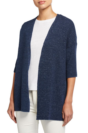 Eileen Fisher Kimono Elbow-Sleeve Open Cardigan