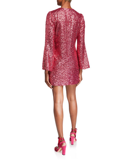 Image 2 of 2: Jill Jill Stuart Sequin Flare-Sleeve Mini Tunic Dress