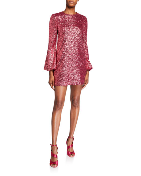 Image 1 of 2: Jill Jill Stuart Sequin Flare-Sleeve Mini Tunic Dress