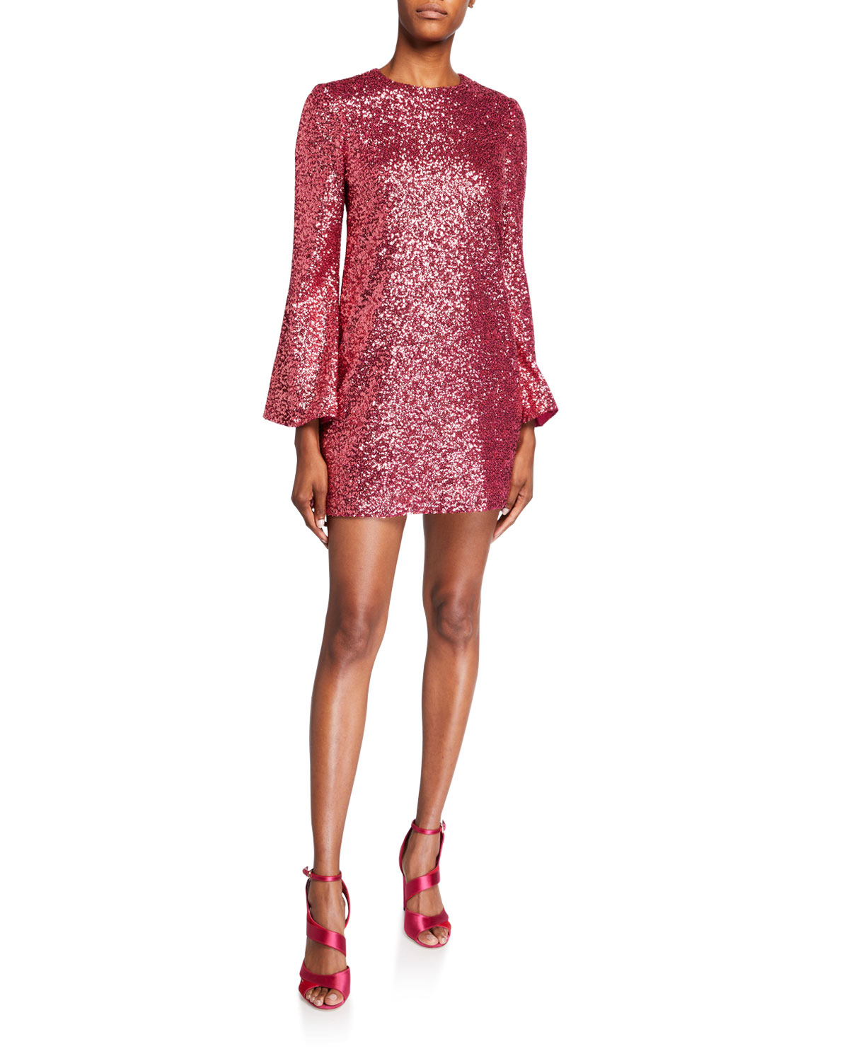 Jill Jill Stuart Sequin Flare-Sleeve Mini Tunic Dress