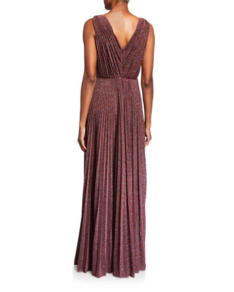 Jill Jill Stuart Metallic Knit V-Neck Sleeveless Pleated Gown