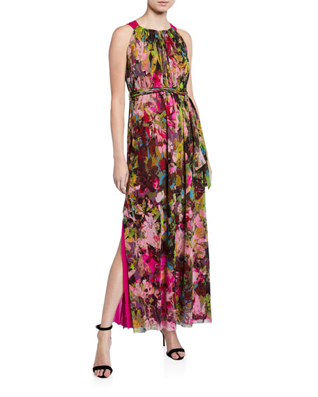 Fuzzi Floral Halter Maxi Dress