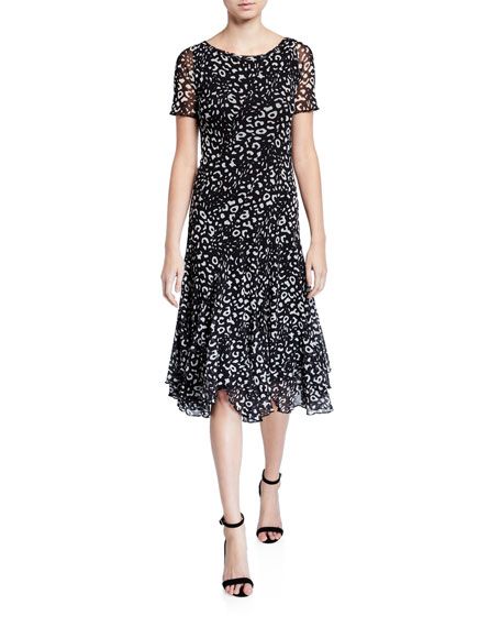 Fuzzi Animal-Print Short-Sleeve Swing Dress
