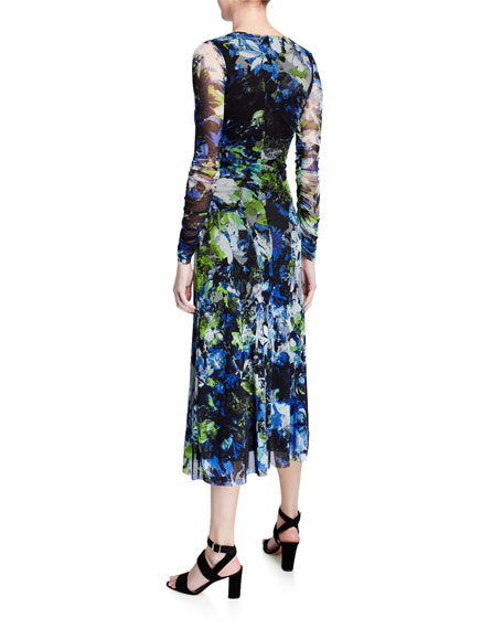 Image 2 of 2: Fuzzi Floral V-Neck Long-Sleeve Shirred Front Midi Dress