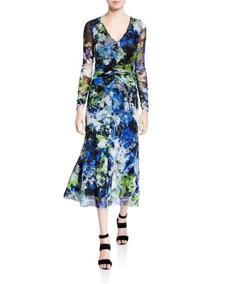 Image 1 of 2: Fuzzi Floral V-Neck Long-Sleeve Shirred Front Midi Dress