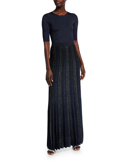 St. John Collection Shimmer Jacquard Plisse Knit Gown Skirt