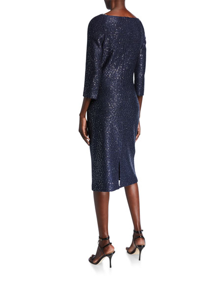 St. John Collection Glimmering Sequined Knit 3/4-Sleeve Dress