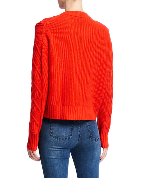Image 2 of 2: St. John Collection Aran Cable Knit Drop-Shoulder Sweater