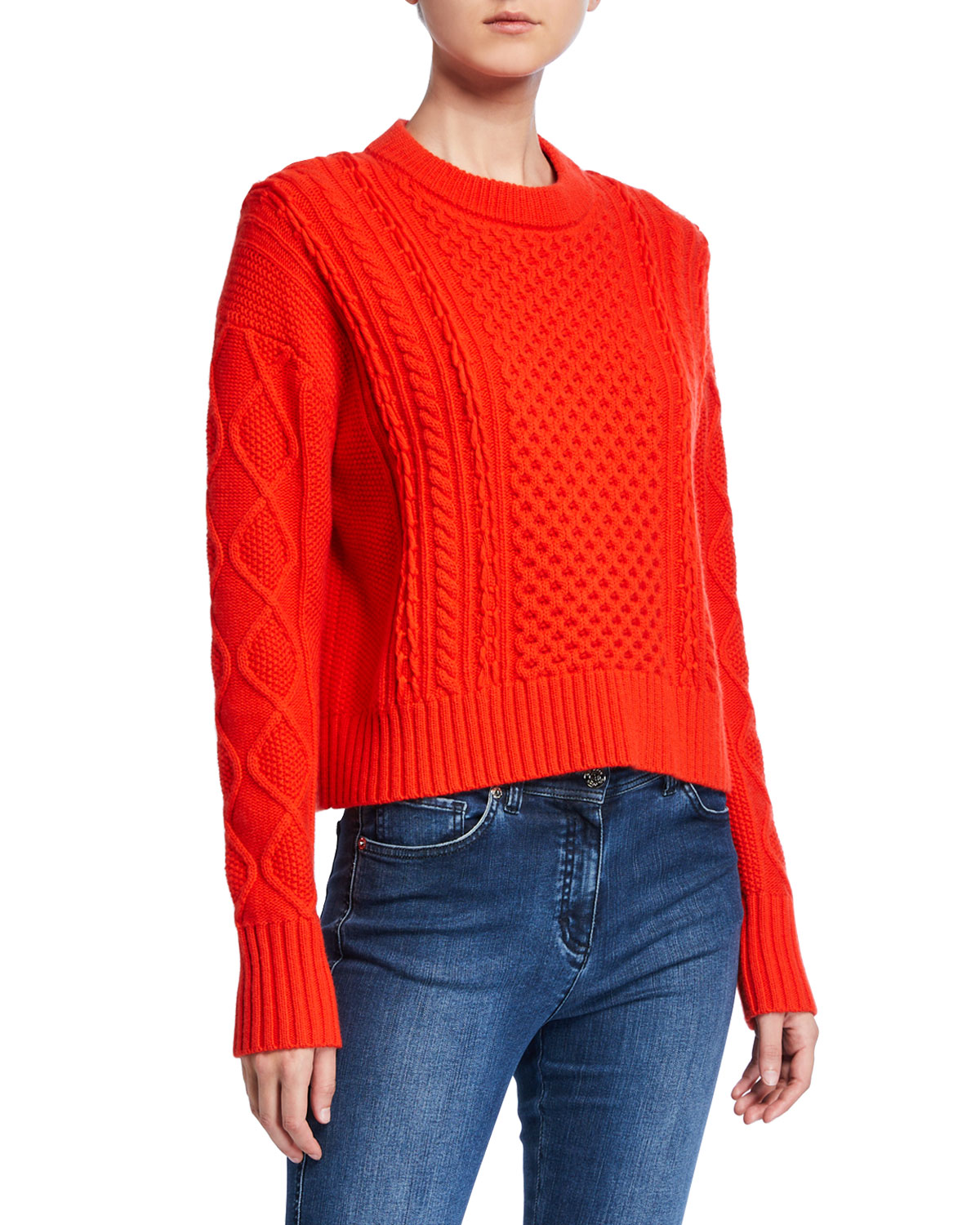 St. John Collection Aran Cable Knit Drop-Shoulder Sweater