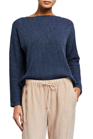 Eileen Fisher Melange Boat-Neck Sweater