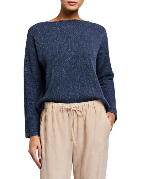 Eileen Fisher Melange Boat-Neck Sweater
