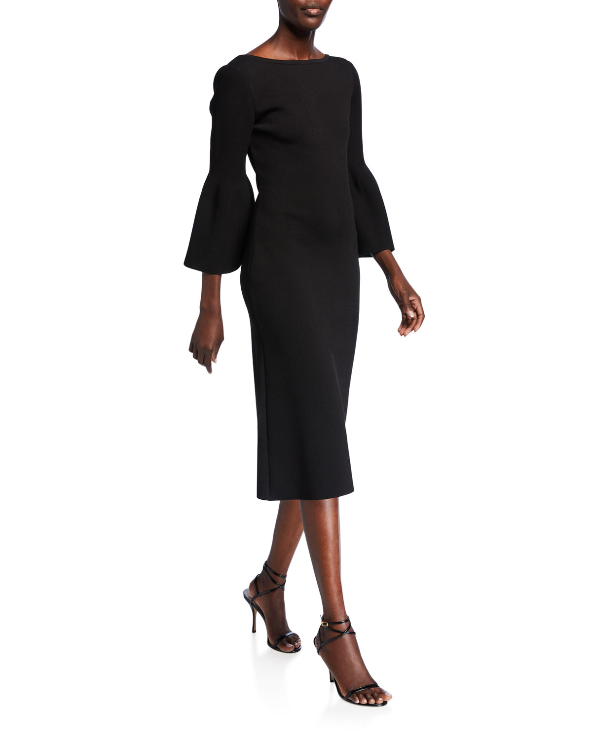 St. John Collection Sculptural Milano Knit Bateau Neck Dress