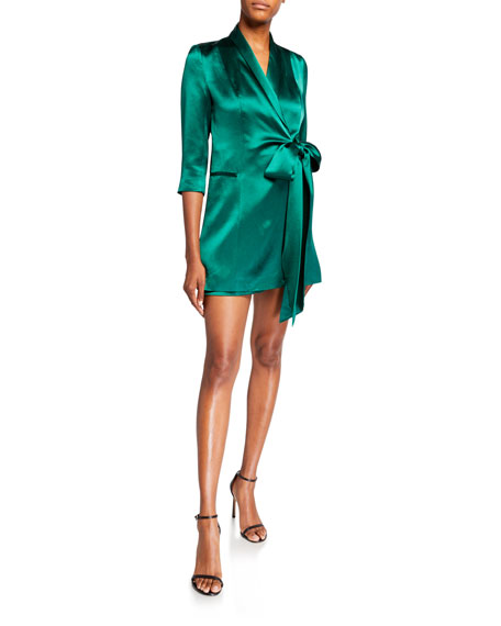 Mestiza New York Claudia Satin Tuxedo Wrap Dress