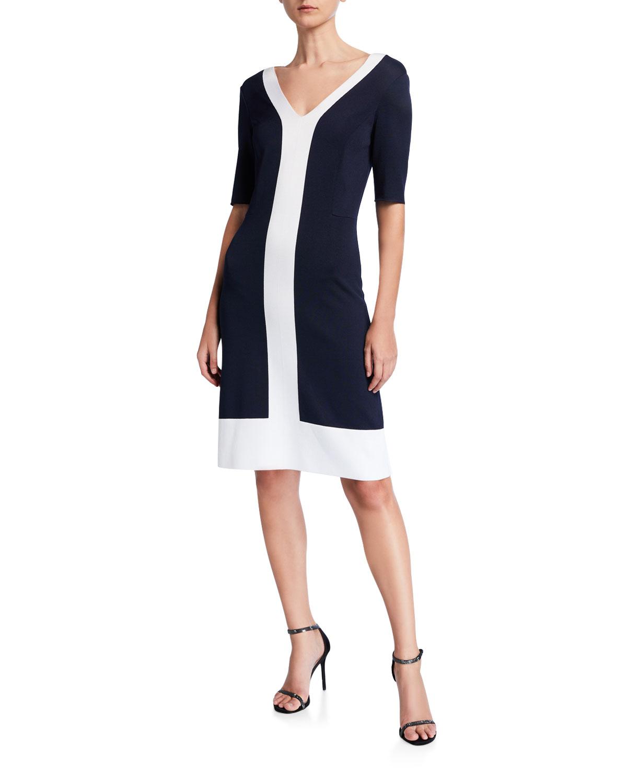 St. John Collection Colorblock Milano V-Neck Dress